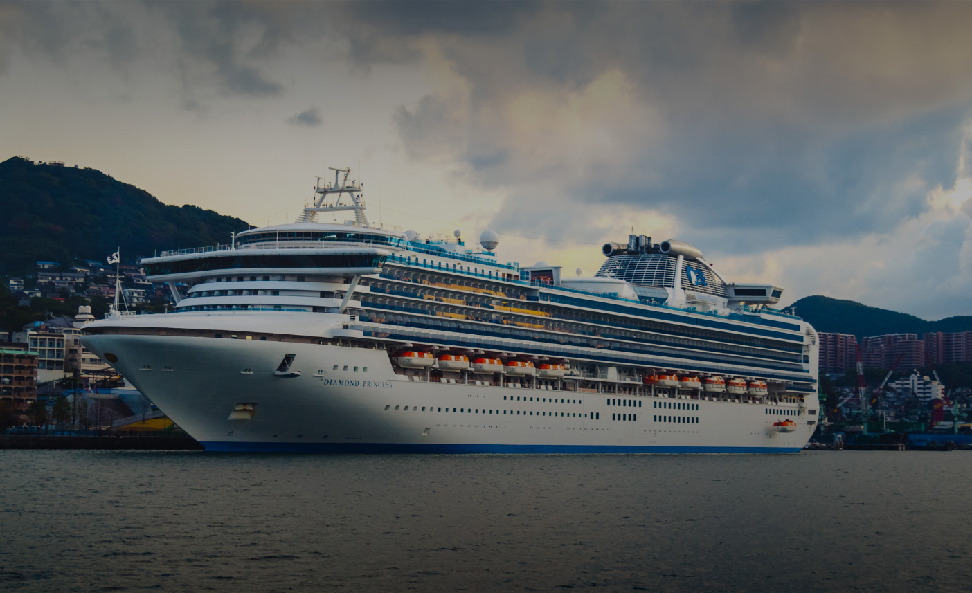 The Diamond Princess cruise ship quarantines off the cost of Japan