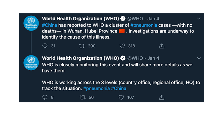 The WHO reports a cluster of pneumonia cases (with no deaths) in Wuhan and Hubei province